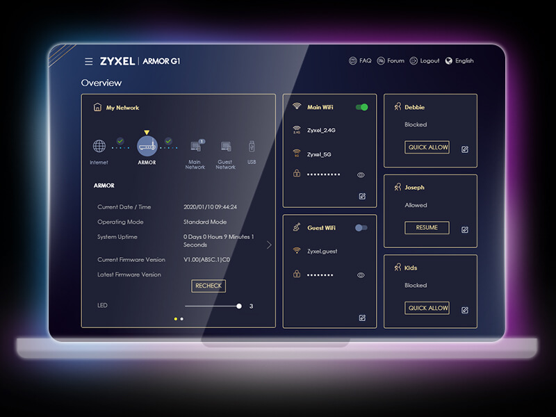 ARMOR G1, Intuitive accessibility features web interface