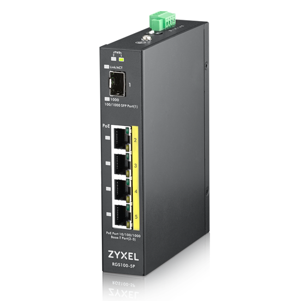 RGS100-5P- 5-port GbE Unmanaged PoE Switch